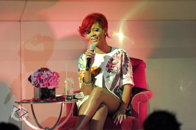 Rihanna at a press conference in London