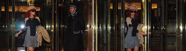 Rihanna quitte son hôtel à Madrid