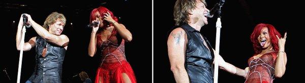 Rihanna sur scène avec Bon Jovi à Madrid