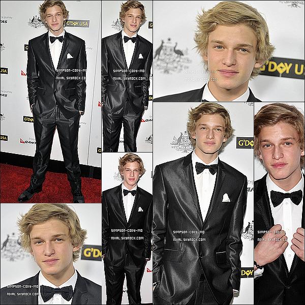 14/01/12 ♦ Cody Simpson a assisté à la 9th Annual G'Day USA Los Angeles Black Tie Gala à Hollywood . Il a aussi performé en acoustic lors de cette soirée.