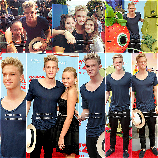 21/09/13 ♦ Cody Simpson était à l'avant première de Cloudy With A Chance Of Meatballs 2.
