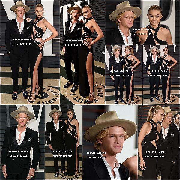 22/02/15 ♦ Cody Simpson et Gigi Hadid étaient à la cérémonie des Vanity Fair Oscar à Beverly Hills.