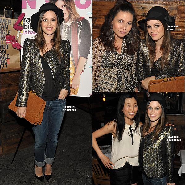 15/11/2011: Mardi soir, le magazine Nylon a organisé un dîner à l'honneur de Rachel qui fait la couverture de l'édition du mois de Novembre du magazine.
