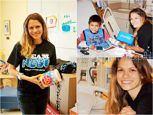 11 Octobre 2012 - Joy a rendu visite aux enfants malades du Mattel Children's Hospital (UCLA) à Los Angeles pour la NEGU (Never Give Up) Foundation.