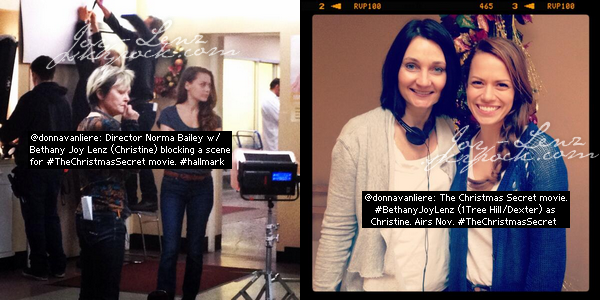 Quelques photos de Bethany sur le tournage de The Christmas Secret.