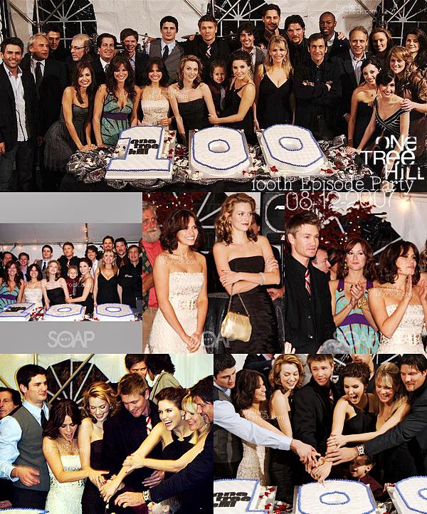 08 Décembre 2007 - Bethany Joy Lenz -à l'époque Galeotti-, et ses co-stars de One Tree Hill ont fêté le 100ème épisode de la série ! (qui correspond au 5x12 : Hundred -le mariage de Lucas & Lindsey-). Elle porte une robe sans manches BCBGMAXAZRIA.