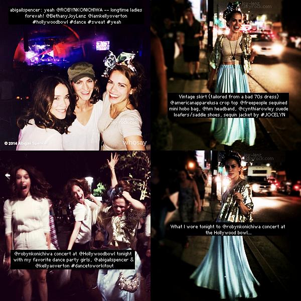 29 Juin 2014 - Bethany Joy Lenz et ses amies Kelly Overton et Abigail Spencer sont allées au concert de Robyn au Hollywood Bowl. On dirait qu'elles se sont bien amusées.