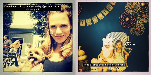 28 Septembre 2014 - On est bien gâtée ces deux derniers jours ! Une autre sortie de Bethany Joy Lenz ! Elle est allée à l'événement Pottery Barn Kids Celebrates Halloween avec Maria, son amie Kelly Overton et la fille de cette dernière. Haas, le chien de Joy était avec elles.
