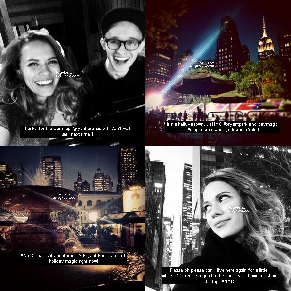 Bethany Joy Lenz était a New York pour quelques jours. Elle y a enregistré quelques chansons. Voici les photos qu'elle a partage sur Instagram.