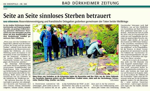 NACHTRAG 47: 15. November 2009 - Volkstrauertag; Wir gedenken der gefallenen Kameraden am Friedhof von Bad-Dürkheim
