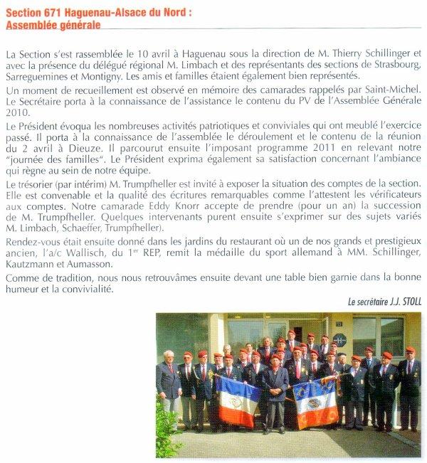 NACHTRAG 54: 10. April 2011 UNP Haguenau; AG 2011