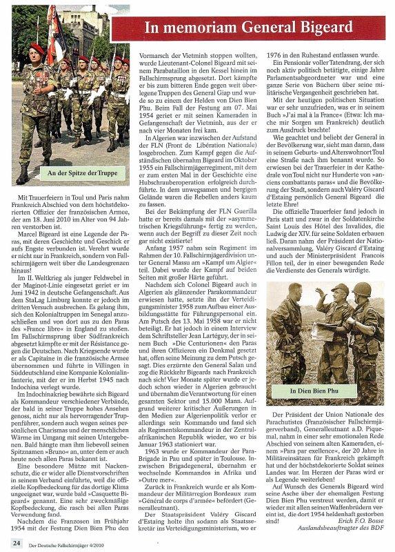 """NACHTRAG 51: Artikel aus """"Der Deutsche FALLSCHIRM-JÄGER"""" (4/2010): In memoriam: General Bigeard und Commandant Loustau"""