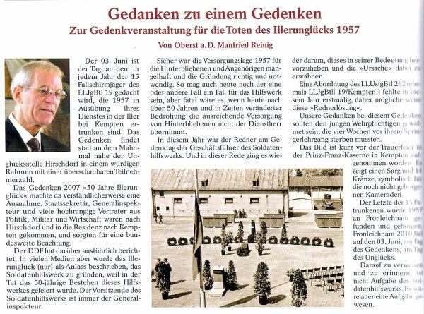 """NACHTRAG 49: Artikel aus """"Der Deutsche FALLSCHIRM-JÄGER"""" (4/2010): Gedenken an Illerunglück 1957"""