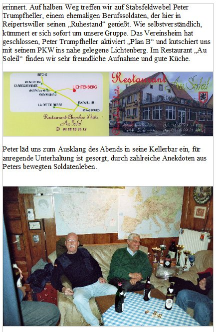 NACHTRAG 20-1 - Kameraden der Traditionsgemeinschaft LogRgt 22 - Jahrestreffen 2007 in Reipertswiller