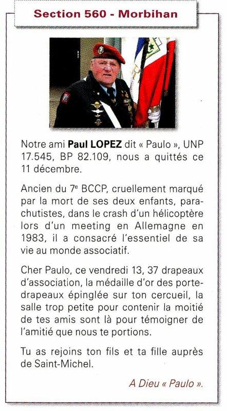 """NACHTRAG """"0b"""" 11. Dezember 2013 - faire part du décès de notre camarade Paul LOPEZ dit """"Paulo""""."""