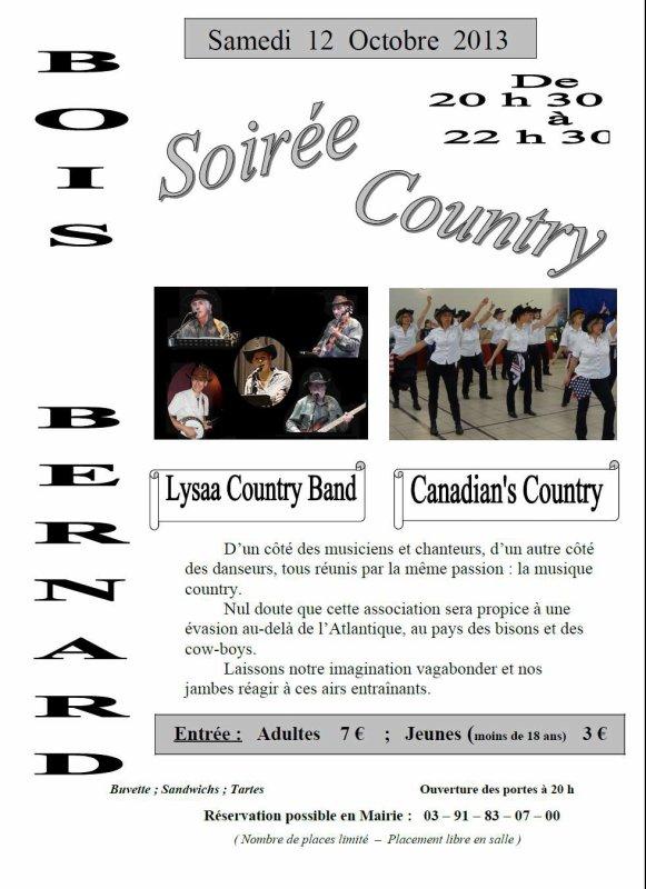 Soirée country le 12 octobre à Bois-Bernard