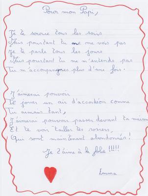 Poème Pour Papi De Emma Une Famille Composée De Membres