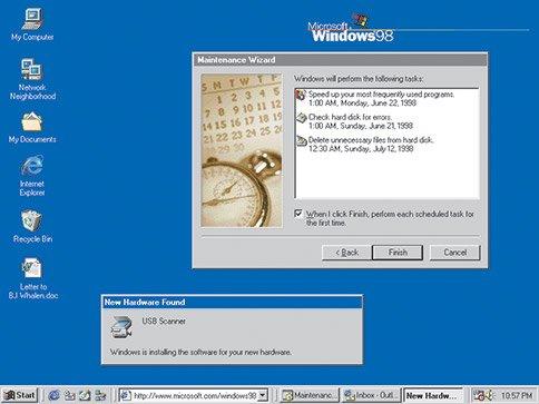 1998–2000 : Windows 98, Windows 2000, Windows Me, Windows évolue pour le travail et les loisirs
