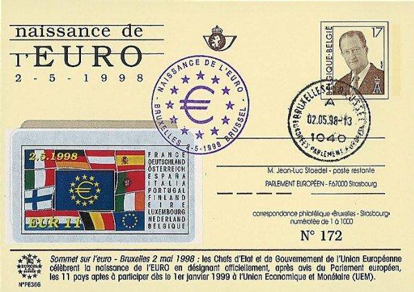 Naissance officielle de l'Euro.