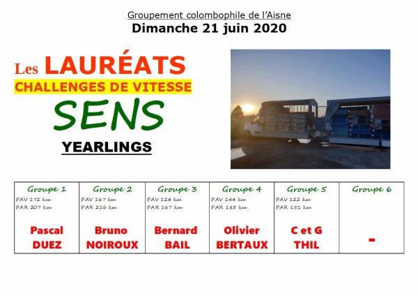 Lauréat du challenge vitesse sur sens du 21 juin 2020 groupe 3 trés beaux résultats