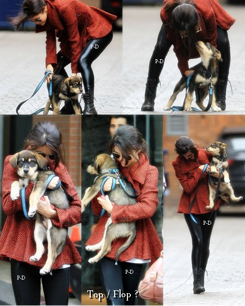 25 Octobre  : Selena s'amusant avec son nouveau chien Baylor à Toronto. Pour moi c'est Top, j'aime bien sa tenue