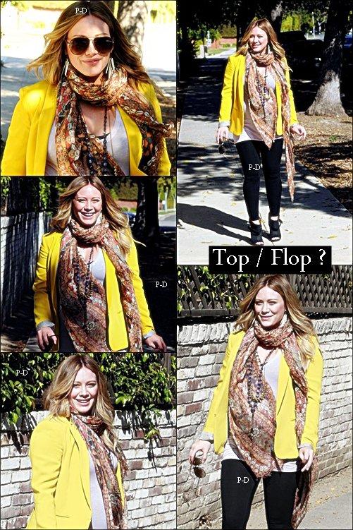 9 Février : Hilary allant chez le médecin à Beverly Hills. Pour moi c'est un beau Top, j'adore sa tenue, c'est coloré mais jolie :D