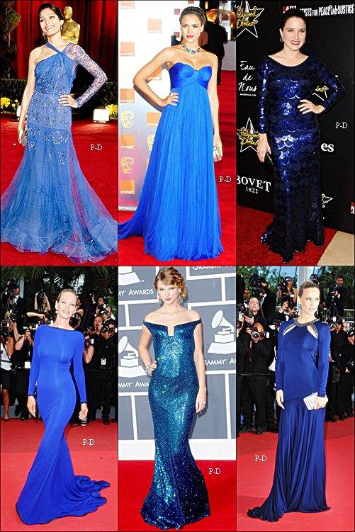 Qui porte la plus belle robe bleu?