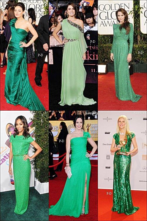 Qui porte la plus belle robe verte?