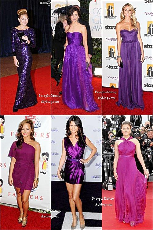 Qui porte la plus belle robe violette?