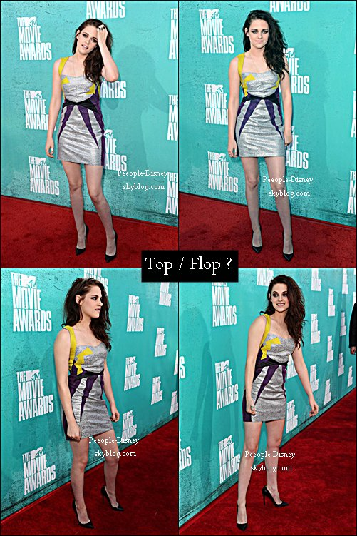 3 Juin/ Kristen Stewart au MTV Movie Awards 2012. Pour moi c'est un beau Top, elle est magnifique dans cette superbe robe   $)