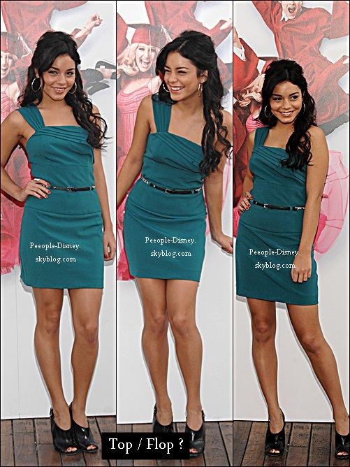 Flashback 3 Octobre 2008: Vanessa faisant la promotion pour High School Musical 3 à Madrid. Pour moi c'est Top, sa robe, sa coiffure et son makeup j'adore    $)