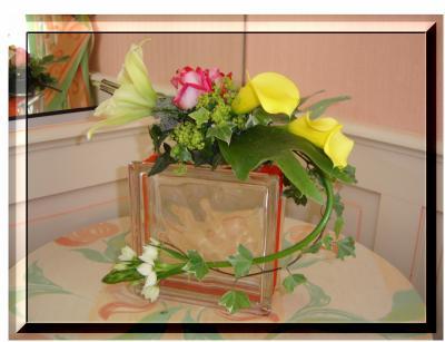 Brique de verre d co roses art floral - Pave de verre couleur ...