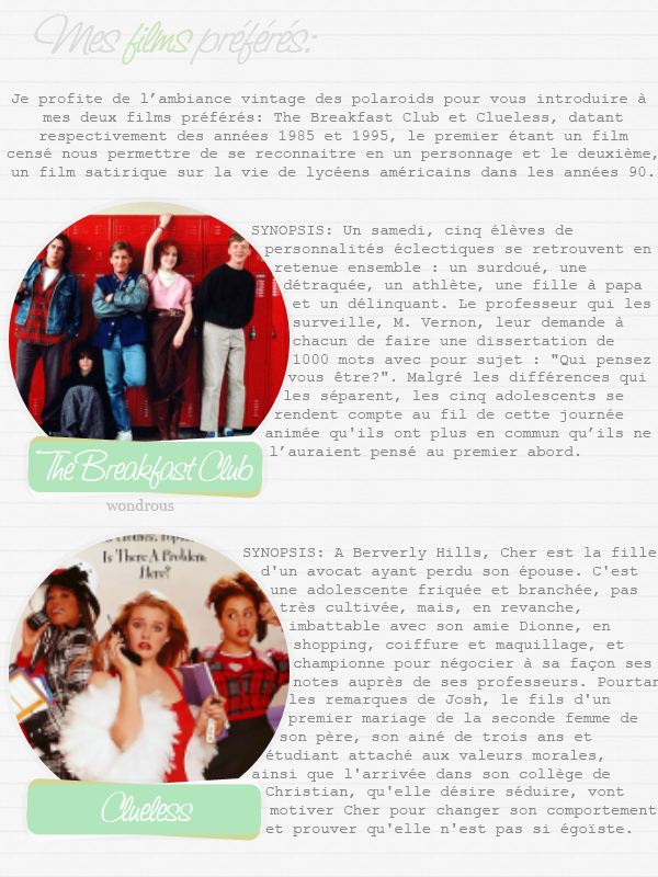 #2 - polaroids, Clueless et The Breakfast Club ou le retour aux 80-90s.