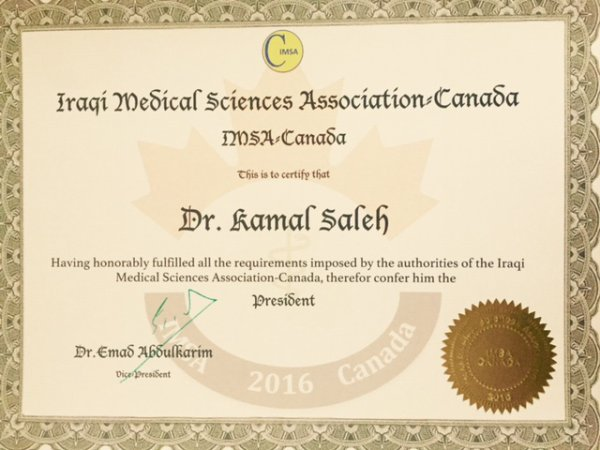 IRAQI MEDICAL SCIENCES ASSOCIATION-CANADA-PRESIDENT