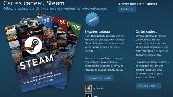 Jeux vidéo : Steam vous permet de donner des cartes cadeaux !