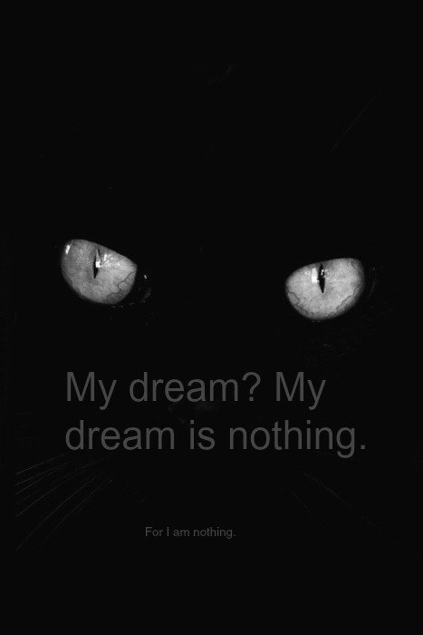 My dream? My dream is nothing. For I am nothing.