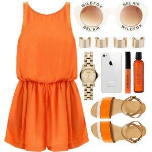 Tenue Polyvore   printemps orange ❤️