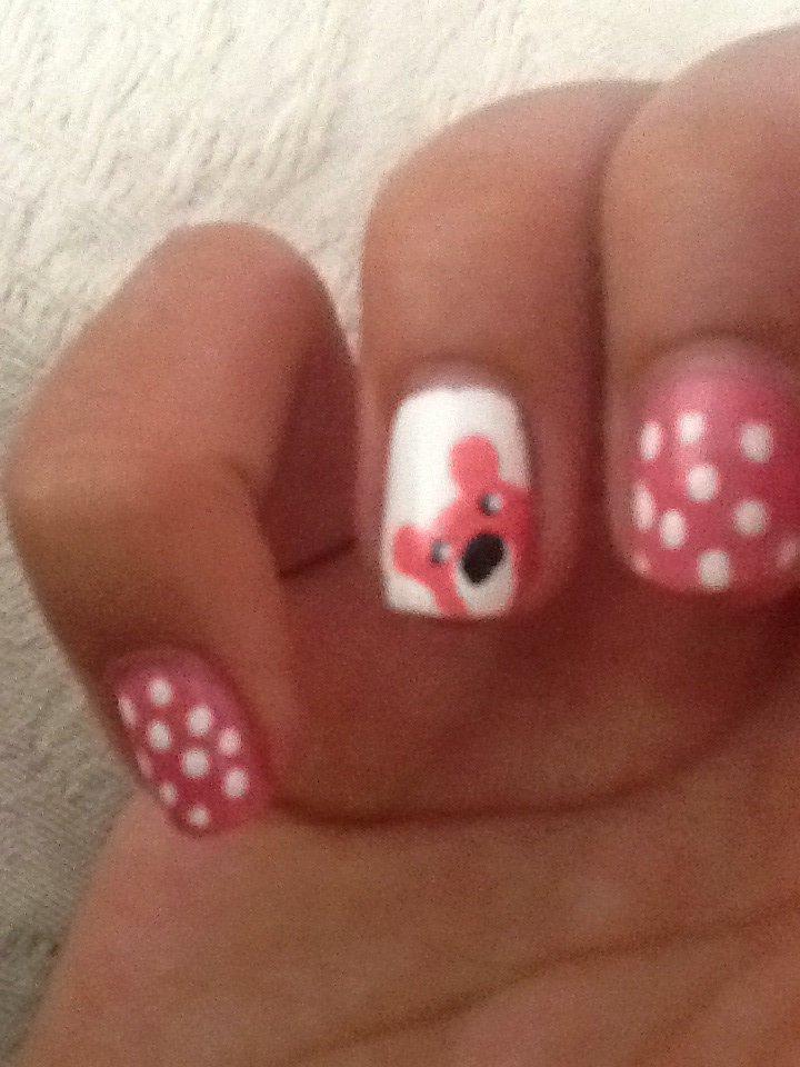 Tuto nail art | ours rose , blanc ❤️