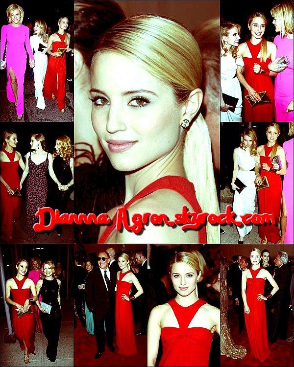 Le 3 mai 2011 : Dianna a été vu a l'aéroport de LAX ,de retour a New York ... Moyen moyen sa tenue elle peu faire beaucoup mieux , mais bon elle à l'air fatigué donc (...) Qu'en pensez vous ?   ― ― ― ― ― ― ― ― ― ― ― ―― ― ― ― ― ― ― ― ― ― ― ―― ― ― ― ― ― ― ― ― ― ― ―― ― ― ― ―    Le 2 mai 2011: Dianna était présente au Gala Costume Institute du Metropolitan Museum of Art de New York .   Côté tenue elle est tout simplement sublime TOP , sa coiffure est simple mais rafiné ,  j'aime beaucoup la couleur de sa robe bien rouge (...) vos avis ?