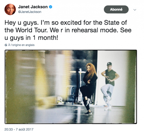 JANET'S MESSAGE ON SOCIAL MEDIA