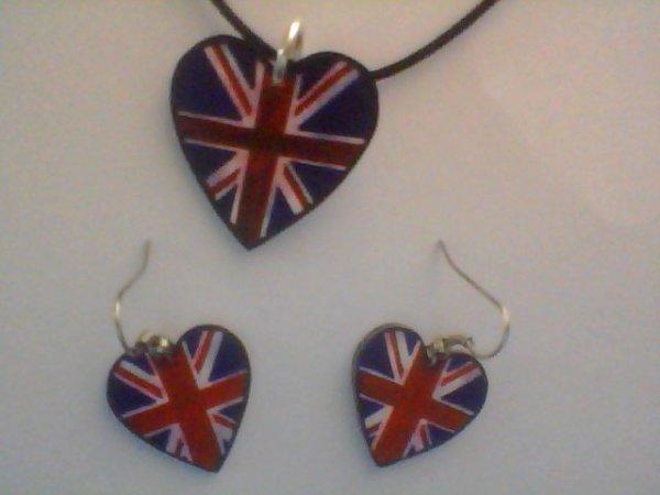 parure Angleterre collier et boucles d'oreilles