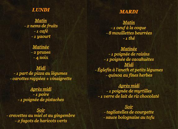 Exemple de plan alimentaire hebdomadaire n°2