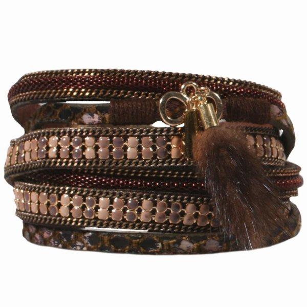 Bracelet multi rangs pompon