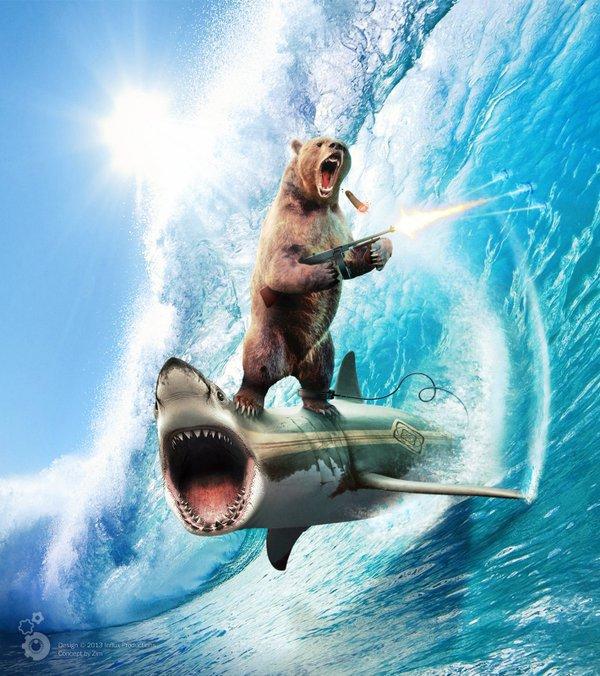 Un ours qui surf sur un requin en mode guerrier