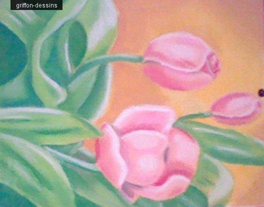"""Dessin fleur""""réaliser au pastel sec sur une toile"""""""