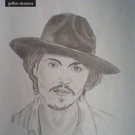 """Dessin Johnny Depp""""mon premier portrait :D"""""""