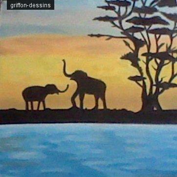 Dessins silhouette éléphant d'Afrique
