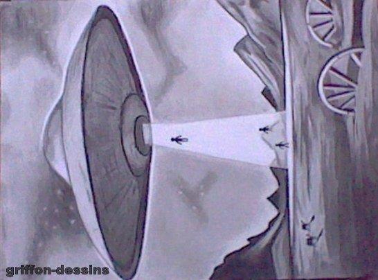 Dessins ovni (sur une grande toile 65x50 cm)