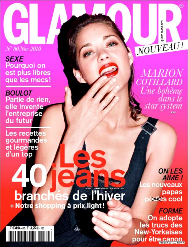 _ PRESSE ~ 12/10/10 ~ Marion sublime en couverture du GLAMOUR de novembre. _
