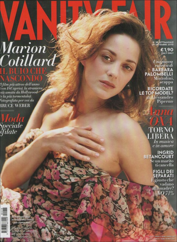 _ PRESSE ~ 01/10/10 ~ Marion est en couverture du magazine Vanity Fair italien. Une magnifique collection de photos prises par Bruce Weber. _